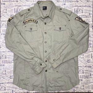 Blac Label Mens 2XL Jacket Shirt Army Button